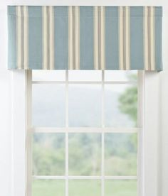 Your favorite beach tones are showcased in various vertical stripes, featuring subtle herringbone detailing, on this classic window treatment. This valance combines wonderful texture for an understated elegance in any room. (Country Curtains Cape Cod Stripe Tailored Valance)