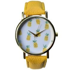 This adorable watch is covered in pineapples! Features a yellow strap just to be extra cute. Careful, this tropical watch might get you compliments everywhere you go. Watch is adjustable; one size fit