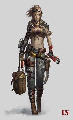 I like how she has all of this gear and then a tiny band-aid on her stomach 😂 Female Character Design, Character Concept, Character Art, Apocalypse Character, Post Apocalyptic Art, Sci Fi Characters, Character Portraits, Shadowrun, Sci Fi Art