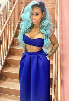 sew in hairstyles with color blue
