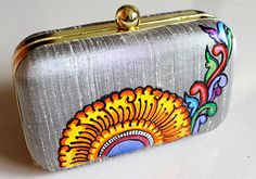 Kerala Mural Painted Grey Box Clutch (small) – Desically Ethnic