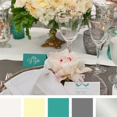 White, Lemon, Teal, Charcoal, Silver Color Palette. Except sub in pink/blush for silver?