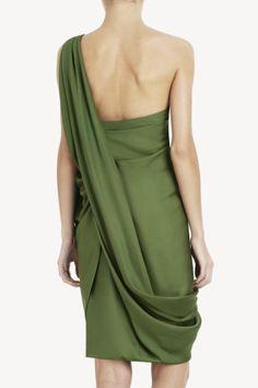 MAX AZRIA GEORGETTE ONE-SHOULDER DRESS
