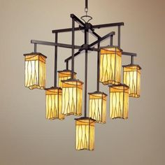 Sedona Collection 9-Light Shaded Chandelier - #22322 | LampsPlus.com