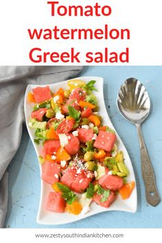 Delicious and simple Greek Salad get ready in 5 minutes. This is fruity twist to classic Greek Salad with watermelon instead of cucumber. Simple dressing to go with it. Easy Salads, Summer Salads, Summer Snacks, Summer Fun, Best Salad Recipes, Healthy Recipes, Healthy Ramen, Easy Dinner Recipes, Easy Meals