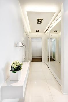 Spots+LED strips at edges of lowered ceiling Corridor Lighting, Strip Lighting, Interior Lighting, Home Lighting, Accent Lighting, Bright Hallway, Entry Hallway, Long Hallway, Hallway Inspiration