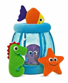Fishbowl Fill & Spill... each creature has it's own sound- crinkle, squeak or rattle. My grandson love this! @MelissaandDoug