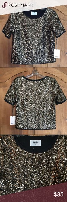 NWT Juicy Couture Gold Sequins Top Size S NWT Juicy Couture gold sequins top with a soft black interior. Shine and sparkle in style! Looks great with jeans, shorts, a skirt, or dress pants. Size small  *Reasonable offers will be considered. NO TRADES* Thank you for visiting! Juicy Couture Tops Blouses