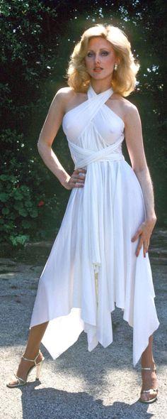 Morgan Fairchild in light summery white dress, outdoors, 1980s