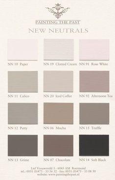 Painting the Past New Neutrals kleurenkaart Bedroom Paint Colors, Wall Colors, House Colors, Renovation Facade, Neutral Paint, Trendy Bedroom, Color Pallets, Colour Schemes, Color Combinations