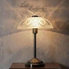 Jugendstil-Tischlampe-Tischleuchte-Messingoptik-Glas-Schreibtisch-Nachttisch   EUR 59,95