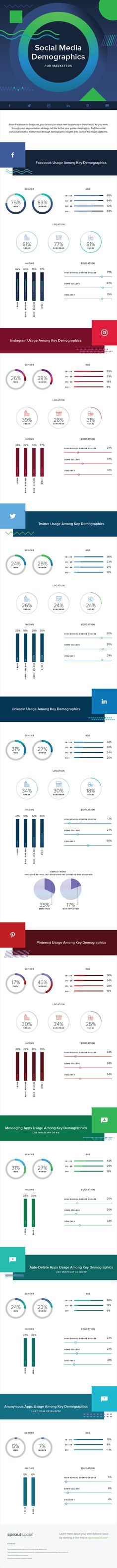 Why are Social Media demographics important? To determine which social media platforms your target audience is using! Get the scoop on this infographic. Perfect for marketing your small business!