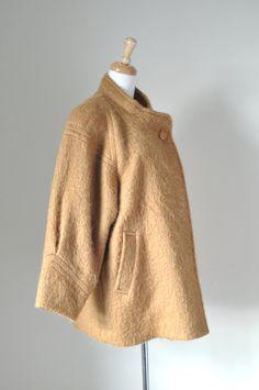 vintage ladies' 80's wool camel cloak gold by VintageStyleShop1