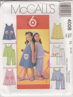 4219f06ec8c2 Girls Dress Pattern Pullover Top Pants Applique Easy Variations Girls Size  6 - 7 - 8 Uncut 2003 McCalls 4006
