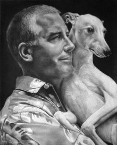 """Love this charcoal drawing by Helle Jorgensen, titled """"Tim and Tig. Animal Drawings, Pencil Drawings, Pencil Sketching, Dog Portraits, Portrait Art, Charcoal Art, Charcoal Drawings, Pencil Drawing Tutorials, Drawing Ideas"""
