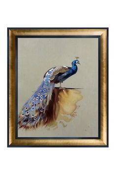 Peacock Metallic Embellished by Archibald Thorburn Framed Hand Painted Oil Reproduction