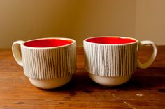 Pinstripe Stackable Mugs by Young Alexander Red Plates, Ceramic Workshop, Kitchenware, Tableware, Cool Mugs, My Cup Of Tea, Mugs Set, Mug Decorating, Home Decor Items