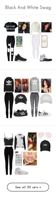 """""""Black And White Swag"""" by jaden-norman on Polyvore featuring WithChic, NIKE, Miss Selfridge, Missguided, Topshop, River Island, adidas Originals, Charlotte Russe, EAST and plus size clothing"""