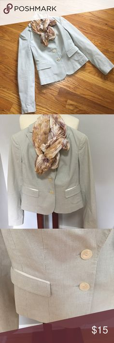 The Limited blazer - size 0. Price is firm Just back from the dry cleaners.  Light colored striped blazer.  Great for fall.   Good condition. See pics for light stains under arm pits that are only noticeable when the jacket is not worn. The Limited Jackets & Coats Blazers