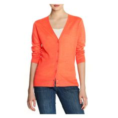 V-Neck Cardi in Coral from Joe Fresh