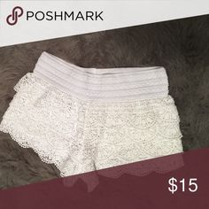 White crochet shorts White Lacey crochet shorts!! Tags have been taken off but they have never been worn and are like new! rewind Shorts