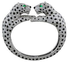 Cartier Diamond and Onyx Double Panther Bangle Bracelet.