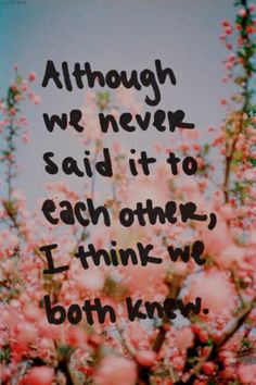 Altough we never said it to each other, I think we both knew. #PictureQuotes, #Love If you like it ♥Share it♥ with your friends. View more #quotes on http://quotes-lover.com/