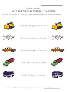 Learn left right worksheet vehicles learning stations, kids learning activi Kindergarten Reading, Kindergarten Worksheets, Worksheets For Kids, Transportation Worksheet, Transportation Theme, Learning Resources, Kids Learning, Learning Stations, Left And Right
