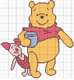 Winnie the Pooh Disney Crochet Patterns, Disney Cross Stitch Patterns, Pony Bead Patterns, Cross Stitch Designs, Mini Cross Stitch, Cross Stitch Cards, Cross Stitching, Winnie The Pooh Blanket, Cross Stitch Pattern Maker