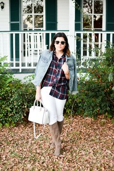 Plaid Tunic and White Jeans with Humble Chic NY, jean jacket, j crew, j.crew, butterfly sunglasses, zaful, cat eye sunglasses, white jeans, suede boots, sole society, transitional, fall outfit, inspiration