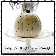 Black and White Polka Dot and Rhinestone Pumpkin