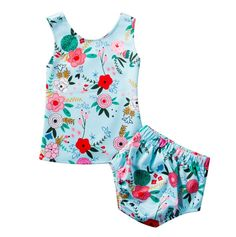 Floral Outfit Set, Sleeveless