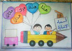 """قواعد نحوية """"اسماء الاشارة """" . Arabic Alphabet Letters, Learn Arabic Alphabet, Kindergarten Classroom Decor, Kindergarten Writing, Learning Colors, Fun Learning, Write Arabic, School Murals, Arabic Lessons"""