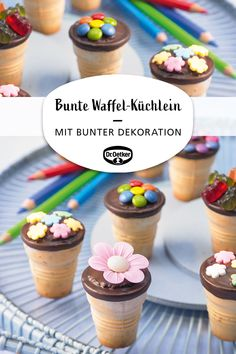 Bunte Waffel-Küchlein Muffins in a waffle cup with chocolate icing and colorful decoration enrollment Easy Vanilla Cake Recipe, Sugar Cookie Recipe Easy, Chewy Sugar Cookies, Chocolate Cake Recipe Easy, Butter Cookies Recipe, Chocolate Cookie Recipes, Easy Cookie Recipes, Chocolate Chip Cookies, Chocolate Icing