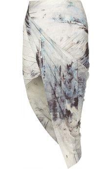 Helmut Lang Asymmetric printed jersey skirt   NET-A-PORTER
