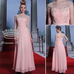 New Fashion Bridesmaid Dresses 2014 A-line Chiffon Spaghetti Strap Pink Long Formal Dresses Evening PK30936
