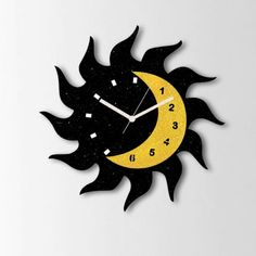 Klok Sun Moon Glittering Wall Clock Black And Golden - Add oodles of style to your home with an exciting range of designer furniture, furnishings, decor items and kitchenware. We promise to deliver best quality products at best prices.