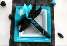 Black and Turquoise ! My wedding colors and I love it on the white table instead of the black I thought of!
