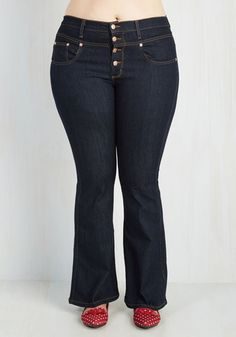 Karaoke Songstress Jeans in Flared - 1X-3X | Mod Retro Vintage Pants | ModCloth.com