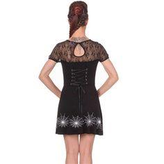 Last Dance korte jurk met spinnenweb gaasstof en corset lint detail zwart - Gothic