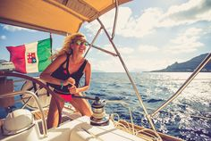 Girl sailing in italy