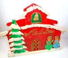 Vintage Christmas Mail Box Christmas Card Holder by VintageTinsel