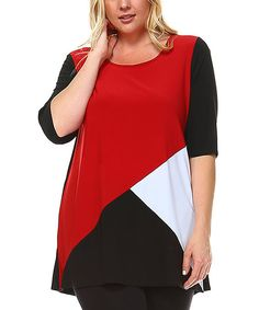 Rich color blocks offer up trendy style, while a relaxed fit crafted from a lightweight stretch blend makes this top a go-to for casualwear. Size note: This item runs small. Star Vixen recommends ordering one size up.