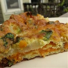 Sweet Potato Frittata with Caramelized Onions and Cheddar. Brokeass Gourmet.
