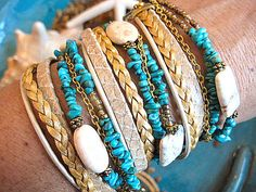 """White BuffaloTurquoise, Gold, Snake - Chic Endless BoHo Leather 3X Multi Strand Wrap, Adjustable Beaded Bracelet....""""FREE SHIPPING""""   by LeatherDiva, $52.00"""