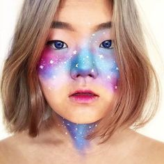 13 Out of This World Galaxy Makeup Ideas - Dominique St. Ours - 13 Out of This World Galaxy Makeup Ideas Galaxy Makeup Blue Eyes Galaxy Makeup, Blue Eye Makeup, Glitter Makeup, Diy Makeup, Makeup Ideas, Makeup Tutorials, Makeup Inspo, Purple Lips, Blue Eyes