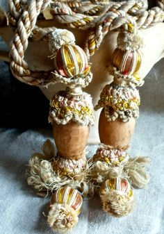 Antique French curtain tie backs