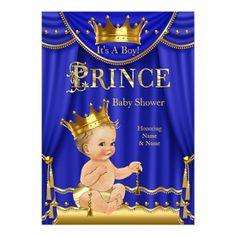Royal Blue Crown Prince Baby Shower Gold Blonde