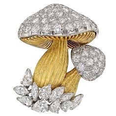 Diamond Gold Platinum Mushroom Brooch