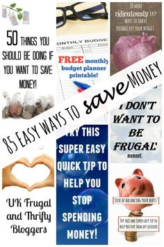 85 Easy ways to save  Money - a great round up of moneysaving ideas that will help you save money!